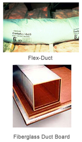 metal and fiberglass duct board